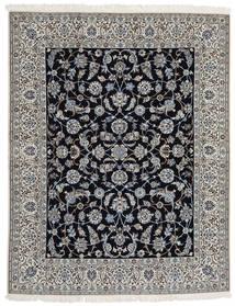Nain 9La Teppich 203X255 Echter Orientalischer Handgeknüpfter Hellgrau/Dunkelgrau/Schwartz (Wolle/Seide, Persien/Iran)