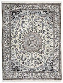 Nain 9La Teppich 200X258 Echter Orientalischer Handgeknüpfter Hellgrau/Dunkel Beige (Wolle/Seide, Persien/Iran)