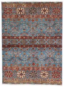 Sharbargan Teppich  106X143 Echter Moderner Handgeknüpfter Dunkelbraun/Blau (Wolle, Afghanistan)