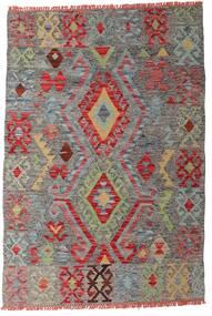 Kelim Afghan Old Style Teppich  99X145 Echter Orientalischer Handgewebter Dunkelgrau/Dunkelrot (Wolle, Afghanistan)
