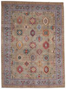 Kazak Teppich 296X403 Echter Orientalischer Handgeknüpfter Hellgrau/Dunkelbraun Großer (Wolle, Afghanistan)