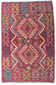 Kelim Afghan Old Style Teppich  98X146 Echter Orientalischer Handgewebter Dunkelrot/Dunkelgrau (Wolle, Afghanistan)