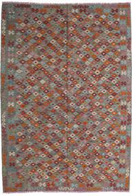 Kelim Afghan Old Style Teppich  208X295 Echter Orientalischer Handgewebter Dunkelrot/Dunkelgrau (Wolle, Afghanistan)