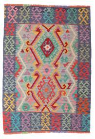 Kelim Afghan Old Style Teppich  105X147 Echter Orientalischer Handgewebter Hellgrau/Dunkelgrau (Wolle, Afghanistan)