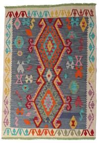 Kelim Afghan Old Style Teppich  106X151 Echter Orientalischer Handgewebter Dunkelgrau/Dunkelrot (Wolle, Afghanistan)