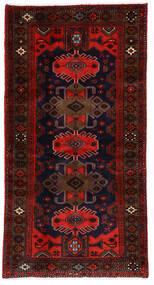 Hamadan Teppich  101X191 Echter Orientalischer Handgeknüpfter Dunkelbraun/Rost/Rot (Wolle, Persien/Iran)