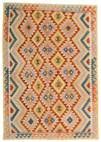 Kelim Afghan Old Style Teppich  176X252 Echter Orientalischer Handgewebter Dunkel Beige/Hellrosa (Wolle, Afghanistan)