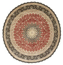 Ghom Seide Teppich  Ø 203 Echter Orientalischer Handgeknüpfter Rund Hellbraun/Dunkel Beige (Seide, Persien/Iran)