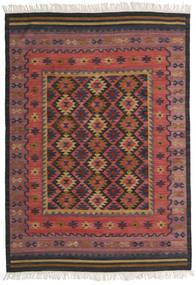 Kelim Marmaris Teppich  160X230 Echter Moderner Handgewebter Dunkelrot/Schwartz (Wolle, Indien)