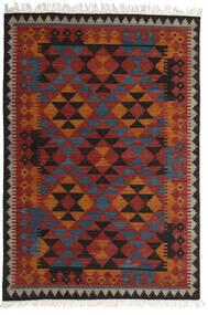 Kelim Isparta Teppich  160X230 Echter Moderner Handgewebter Dunkelrot/Schwartz (Wolle, Indien)