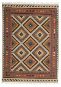 Kelim Bodrum Teppich  160X230 Echter Moderner Handgewebter Dunkelgrau/Hellgrau (Wolle, Indien)