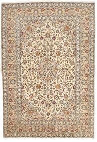 Keshan Teppich  200X295 Echter Orientalischer Handgeknüpfter Beige/Dunkelbraun (Wolle, Persien/Iran)