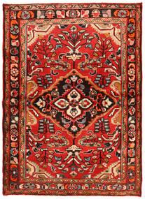 Hosseinabad Teppich  112X157 Echter Orientalischer Handgeknüpfter Dunkelrot/Rost/Rot (Wolle, Persien/Iran)