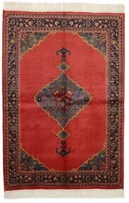 Kazak Teppich 136X200 Echter Orientalischer Handgeknüpfter Dunkelbraun/Dunkelrot/Rost/Rot (Wolle, Pakistan)