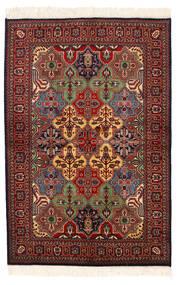Kazak Teppich 135X201 Echter Orientalischer Handgeknüpfter Dunkelrot/Dunkelgrau (Wolle, Pakistan)