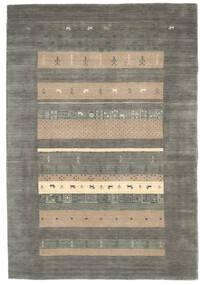 Loribaf Loom Teppich  137X164 Echter Moderner Handgeknüpfter Dunkelgrau/Hellgrau (Wolle, Indien)