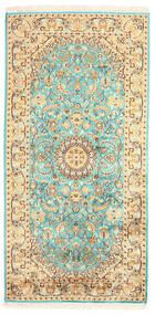 Kaschmir Reine Seide Teppich  77X157 Echter Orientalischer Handgeknüpfter Braun/Gelb (Seide, Indien)