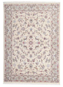 Täbriz 60 Raj Seidenkette Teppich  167X243 Echter Orientalischer Handgeknüpfter Hellgrau/Beige/Weiß/Creme (Wolle/Seide, Persien/Iran)