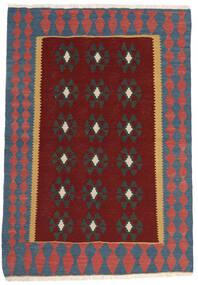 Kelim Teppich  100X147 Echter Orientalischer Handgewebter Dunkelrot/Dunkelgrau (Wolle, Persien/Iran)