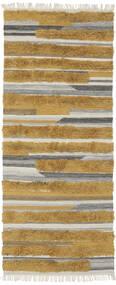 Sunny - Gelb Teppich  100X250 Echter Moderner Handgewebter Läufer Braun/Dunkelbraun (Wolle, Indien)