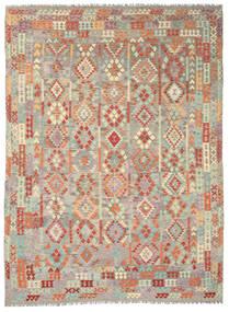 Kelim Afghan Old Style Teppich 292X393 Echter Orientalischer Handgewebter Hellgrau/Dunkel Beige Großer (Wolle, Afghanistan)