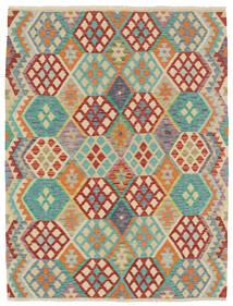 Kelim Afghan Old Style Teppich  153X196 Echter Orientalischer Handgewebter Dunkel Beige/Dunkelrot (Wolle, Afghanistan)