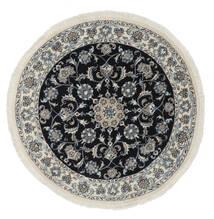Nain Teppich  Ø 140 Echter Orientalischer Handgeknüpfter Rund Schwartz/Weiß/Creme (Wolle, Persien/Iran)