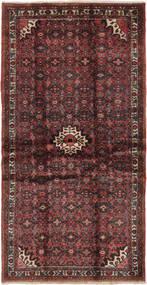 Hosseinabad Teppich  100X200 Echter Orientalischer Handgeknüpfter Schwartz/Dunkelbraun (Wolle, Persien/Iran)