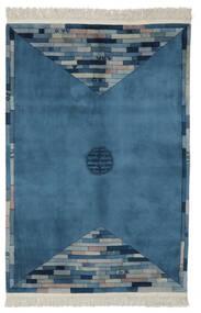 China 90 Line Teppich  137X198 Echter Orientalischer Handgeknüpfter Dunkelblau/Weiß/Creme (Wolle, China)