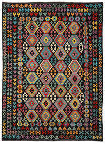 Kelim Afghan Old Style Teppich  253X346 Echter Orientalischer Handgewebter Schwartz/Dunkelgrau Großer (Wolle, Afghanistan)