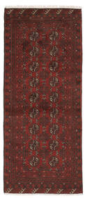 Afghan Teppich  78X192 Echter Orientalischer Handgeknüpfter Läufer Schwartz/Dunkelbraun (Wolle, Afghanistan)