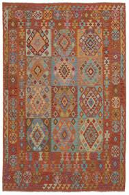 Kelim Afghan Old Style Teppich  202X302 Echter Orientalischer Handgewebter Dunkelbraun (Wolle, Afghanistan)