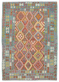 Kelim Afghan Old Style Teppich  172X240 Echter Orientalischer Handgewebter Dunkelgrün/Dunkelbraun (Wolle, Afghanistan)